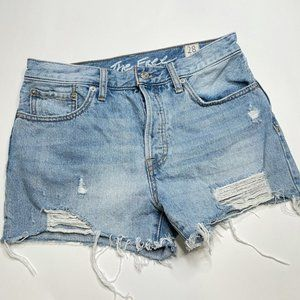 We The Free Mid Rise Cut Off Denim Button Shorts